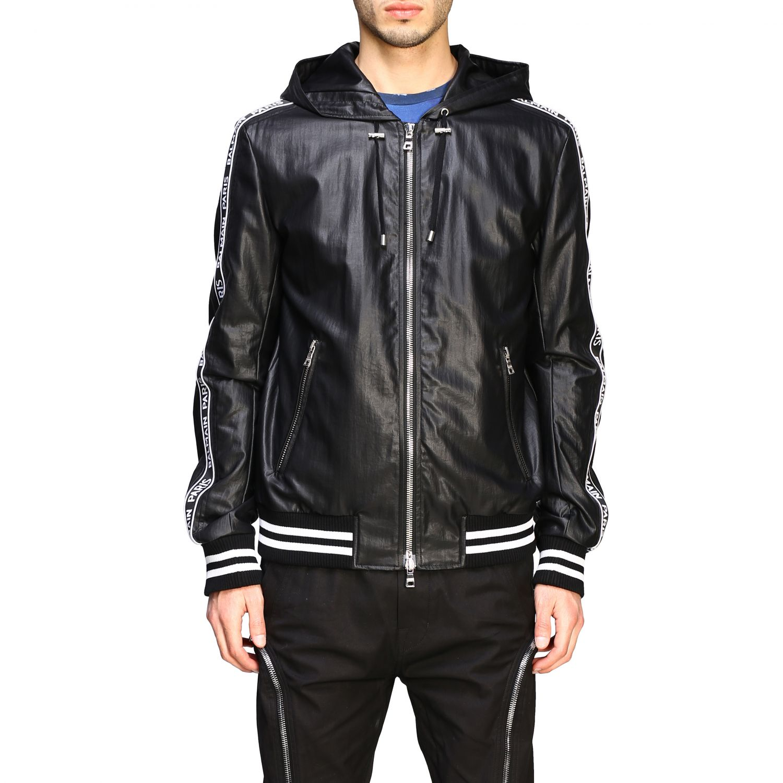Куртка Balmain: Бомбер из кожи с капюшоном Мужское Balmain черный 1