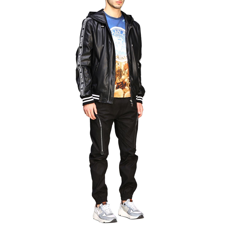 Куртка Balmain: Бомбер из кожи с капюшоном Мужское Balmain черный 2