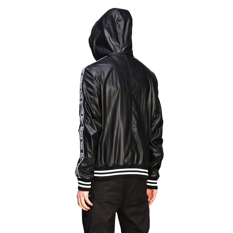 Куртка Balmain: Бомбер из кожи с капюшоном Мужское Balmain черный 3