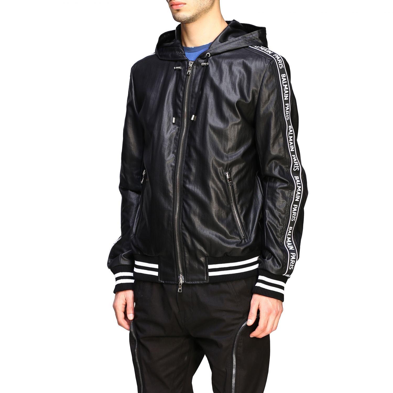 Куртка Balmain: Бомбер из кожи с капюшоном Мужское Balmain черный 4