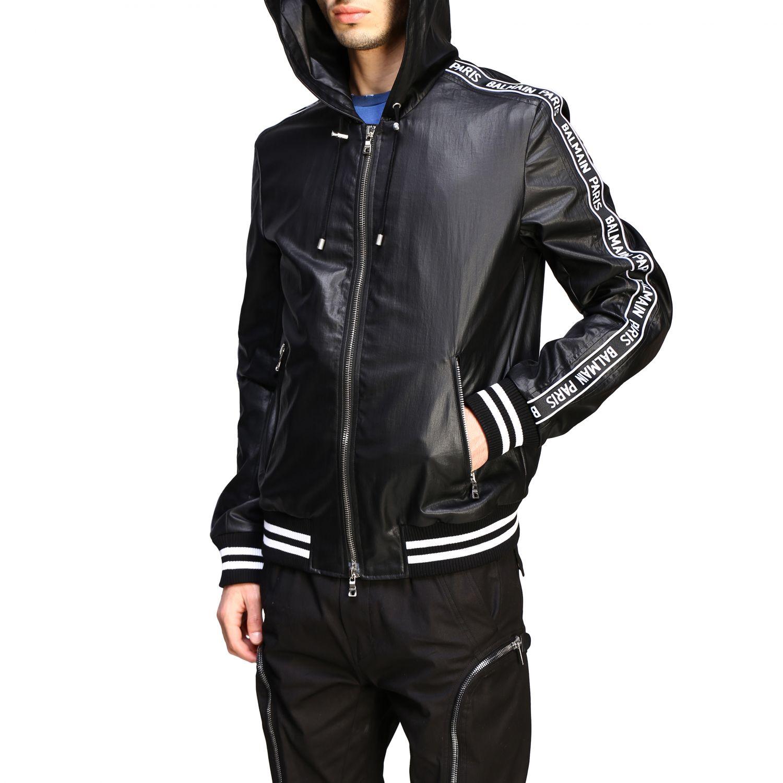 Куртка Balmain: Бомбер из кожи с капюшоном Мужское Balmain черный 5