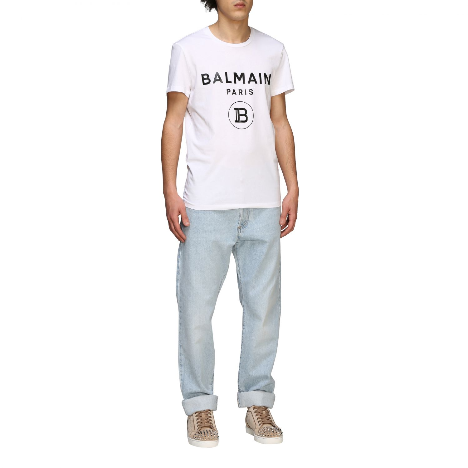 Джинсы Balmain: Джинсы slim stretch Мужское Balmain потертый джинс 2
