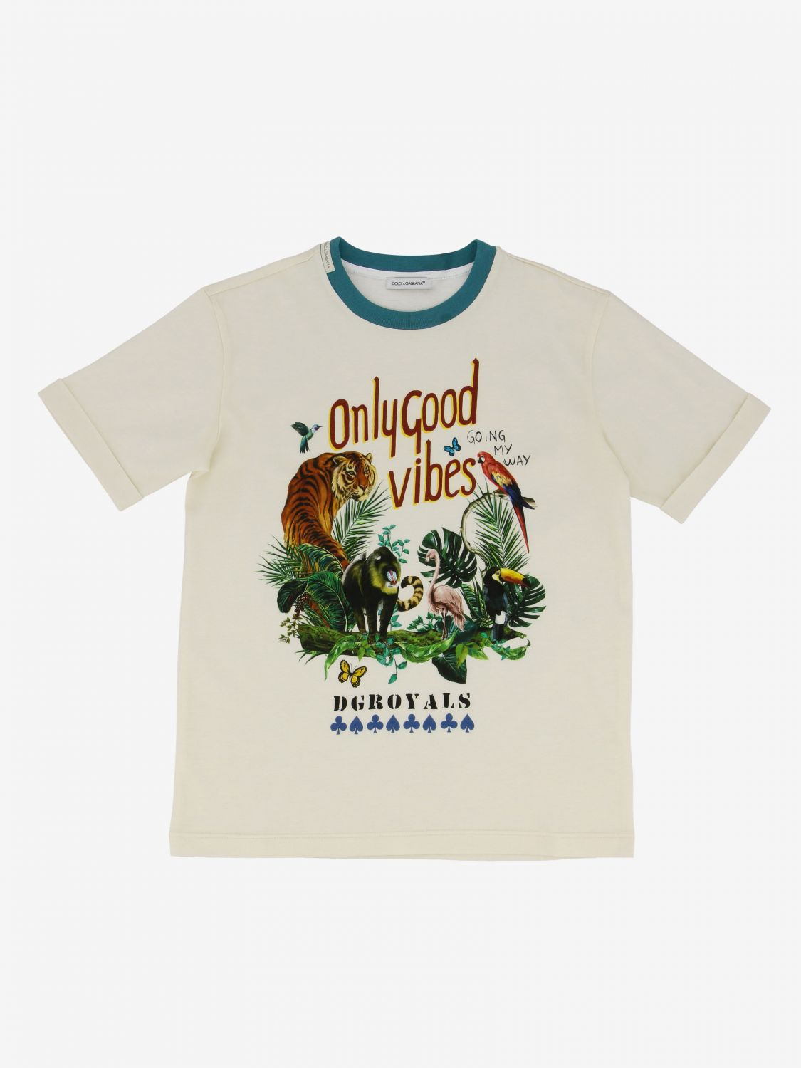 T-shirt Dolce & Gabbana: T-shirt Dolce & Gabbana con stampa only good vibes bianco 1