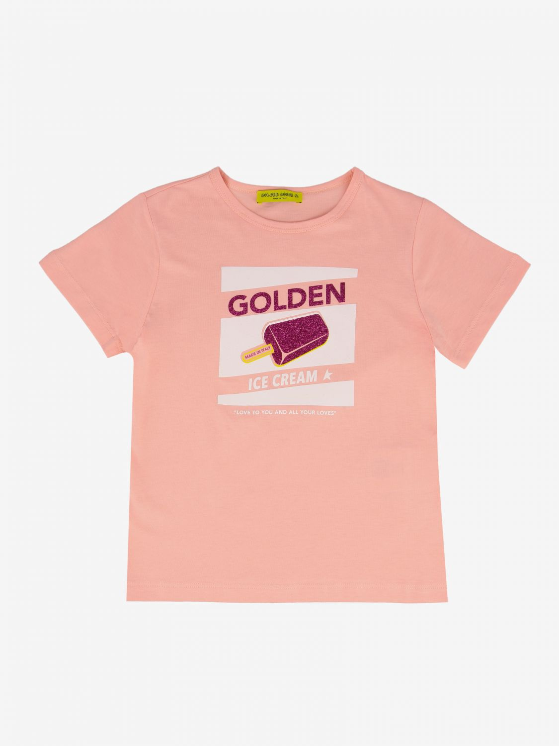Golden Goose t-shirt with ice cream print pink 1