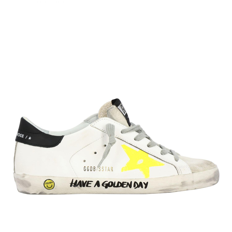 Golden Goose Superstar Sneakers aus Leder und Wildleder mit Stern weiß 1