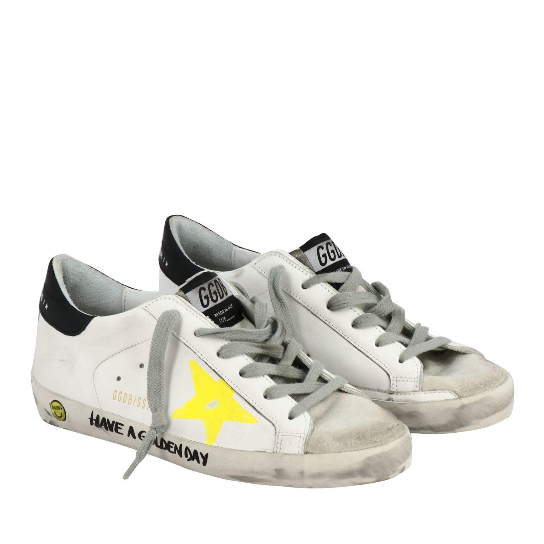 Golden Goose Superstar Sneakers aus Leder und Wildleder mit Stern weiß 2