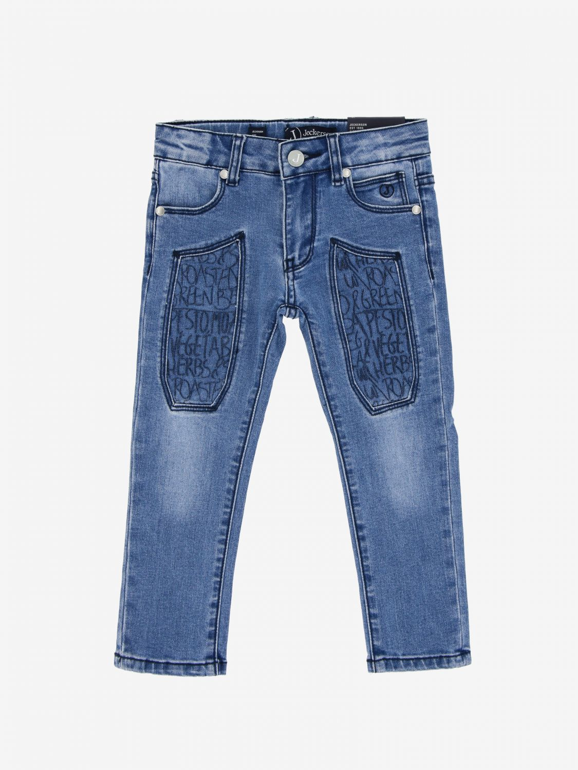 Jeckerson denim jeans with patterned patches stone washed 1