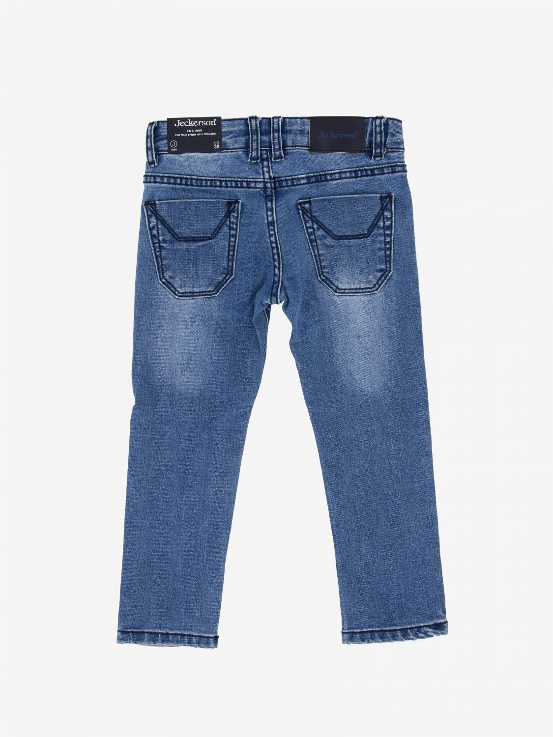 Jeckerson denim jeans with patterned patches stone washed 2