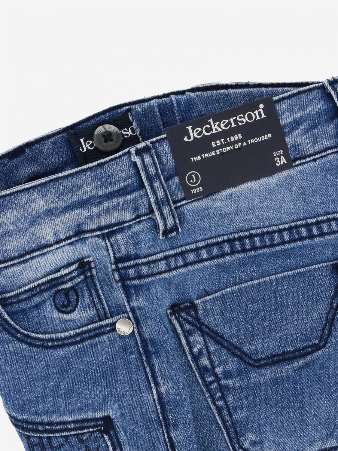 Jeckerson denim jeans with patterned patches stone washed 3