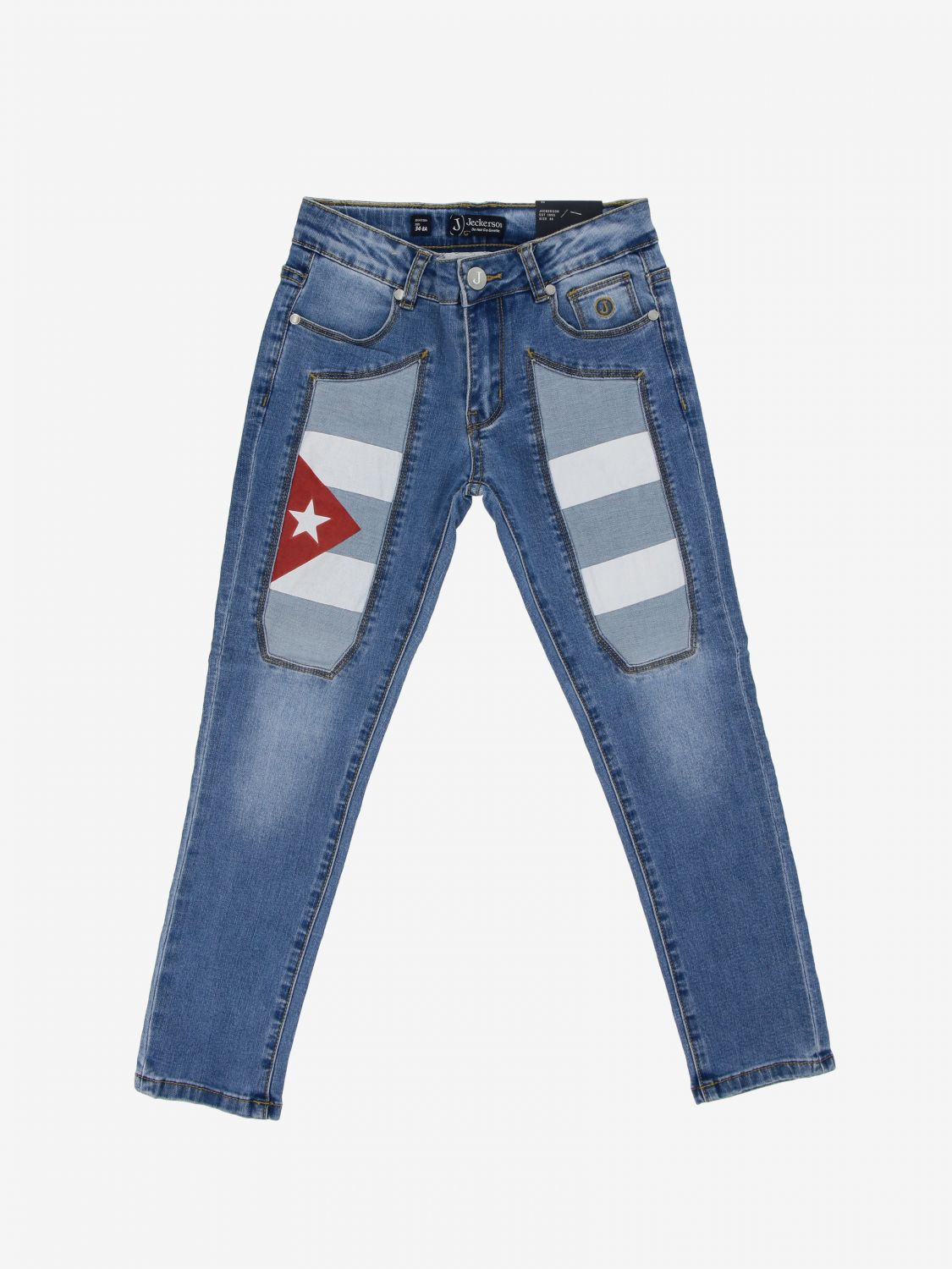 Jeckerson denim jeans with Cuba flag patches stone washed 1