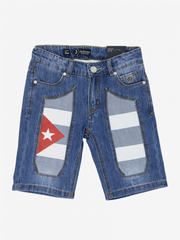 Jeckerson denim shorts with Cuba flag patches denim 1