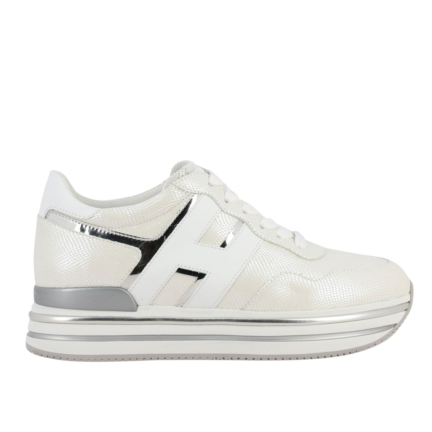 Hogan 468 midi platform sneakers in leather with big H and glitter piping white 1