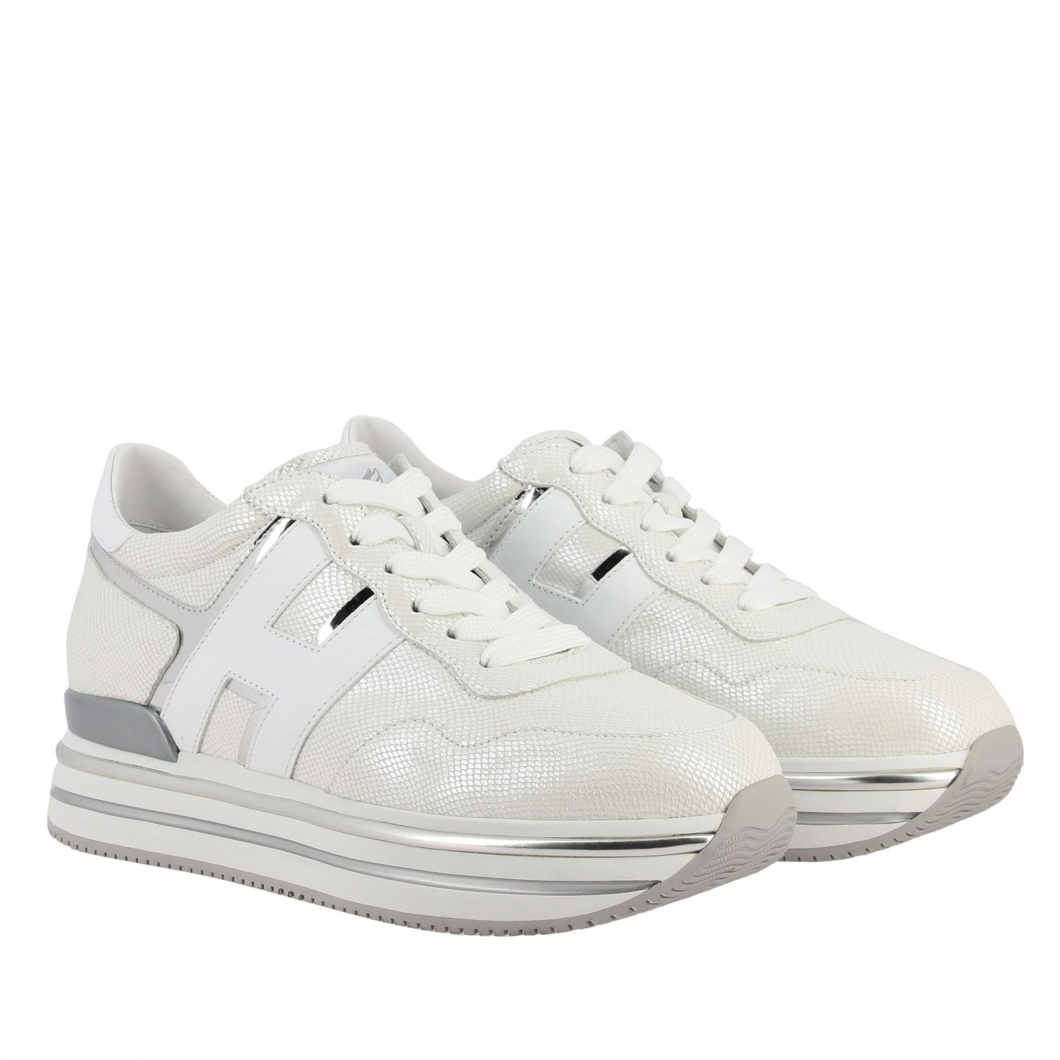 Hogan 468 midi platform sneakers in leather with big H and glitter piping white 2