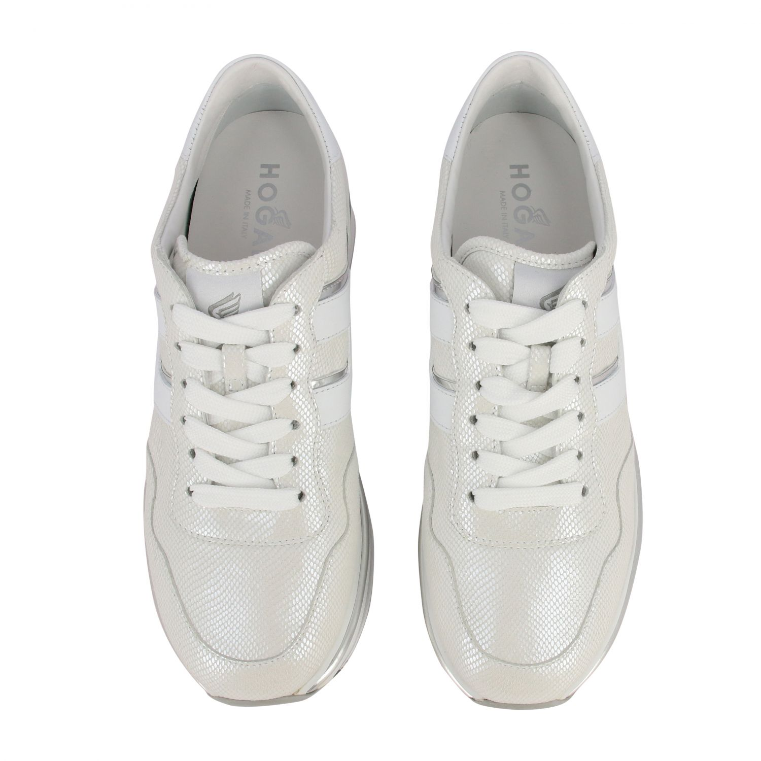 Hogan 468 midi platform sneakers in leather with big H and glitter piping white 3