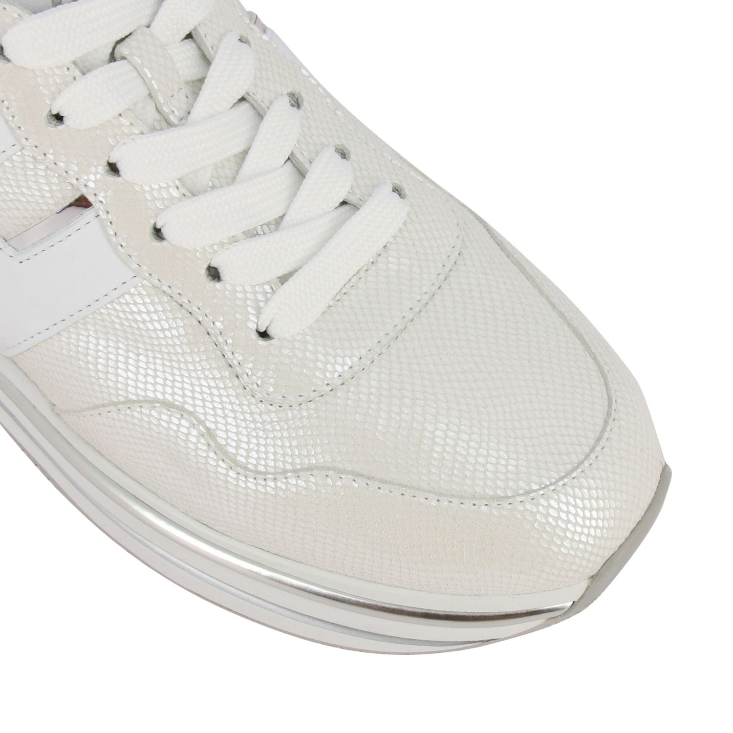 Hogan 468 midi platform sneakers in leather with big H and glitter piping white 4
