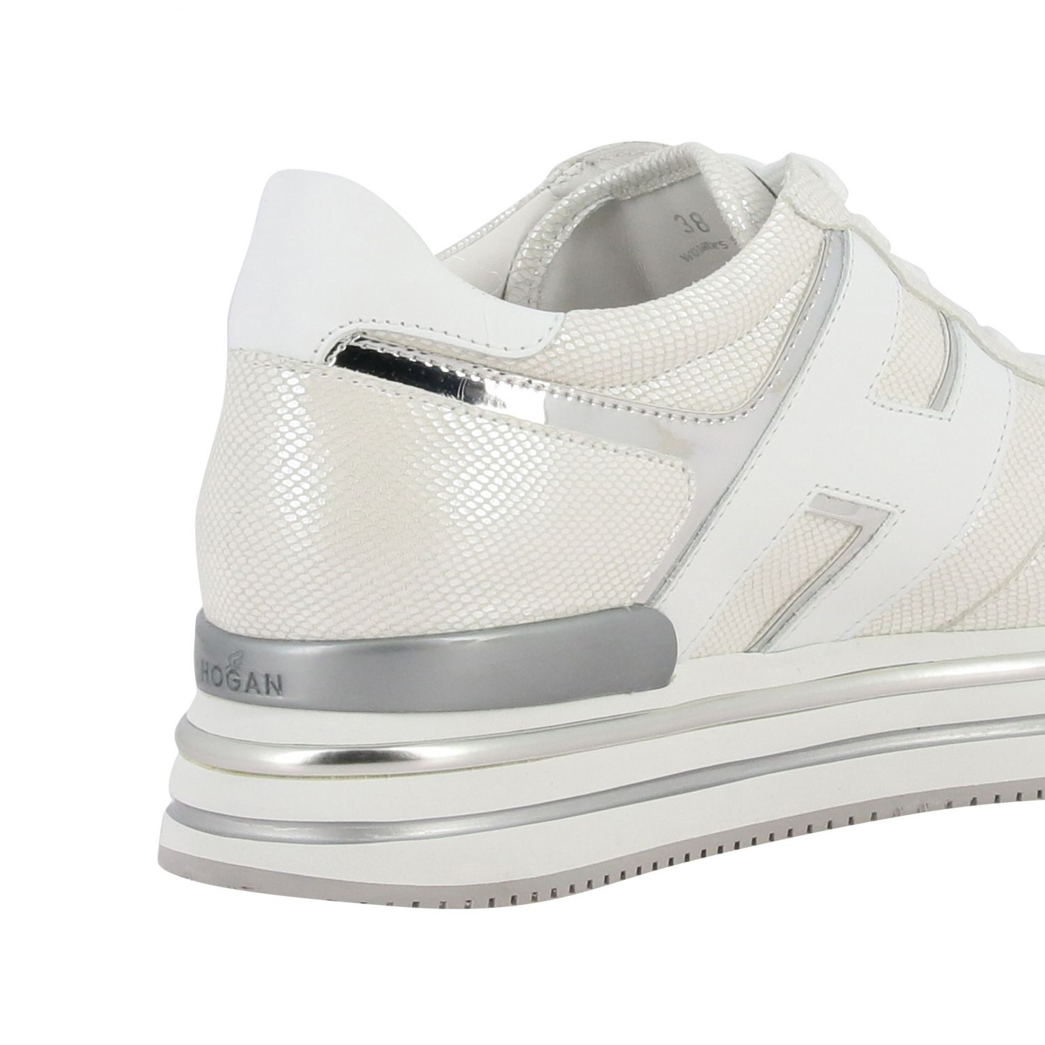 Hogan 468 midi platform sneakers in leather with big H and glitter piping white 5