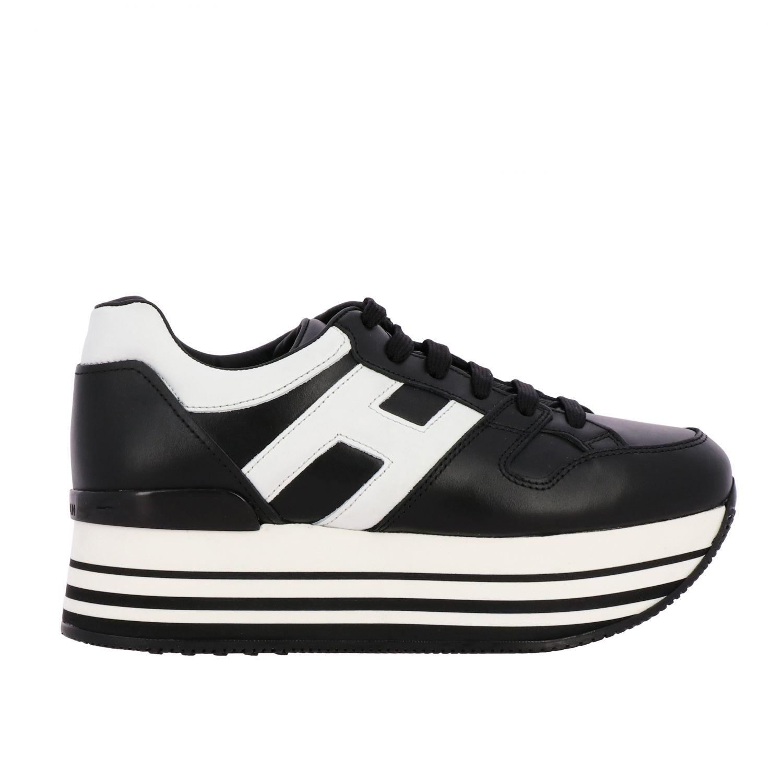 Sneakers 283 Hogan in pelle con big H e maxi suola 222 platform nero 1