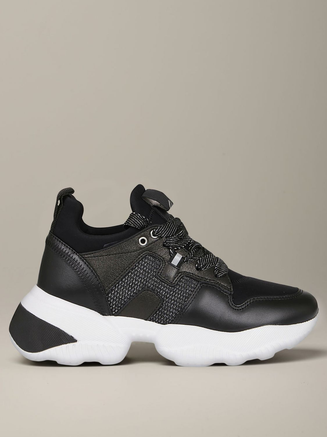 Interactive Hogan sneakers in leather and neoprene black 1