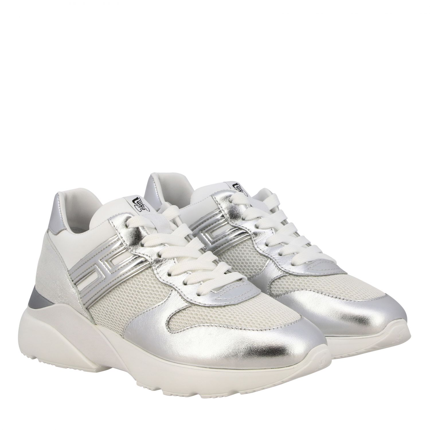 Hogan Active one 385 sneakers in laminated leather and glitter mesh
