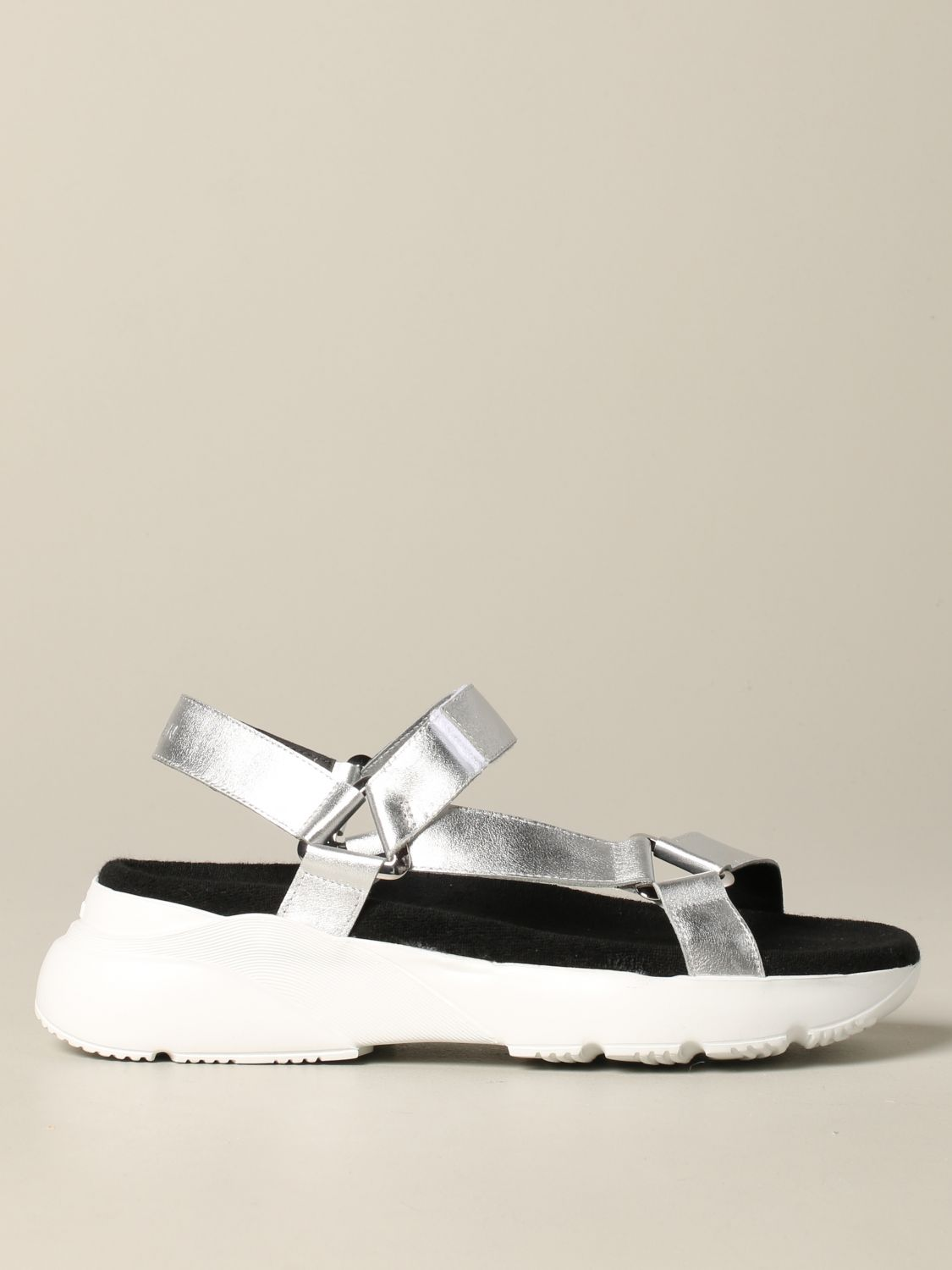 Hogan sandal in laminated leather with active one sole