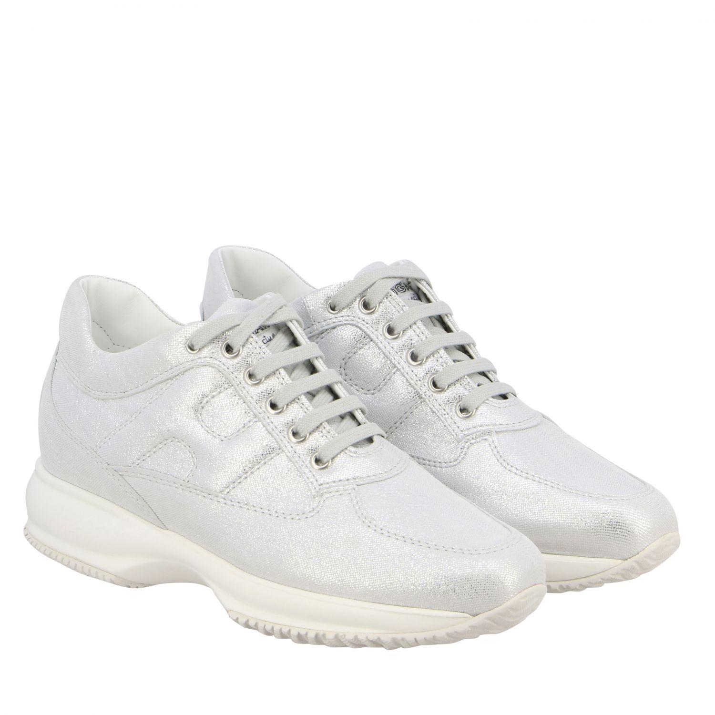 Sneakers Interactive Hogan in pelle effetto suede lurex con H bombata argento 2