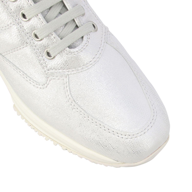 Sneakers Interactive Hogan in pelle effetto suede lurex con H bombata argento 4