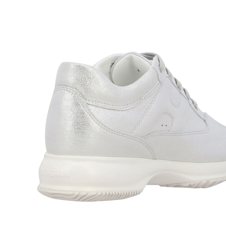 Sneakers Interactive Hogan in pelle effetto suede lurex con H bombata argento 5
