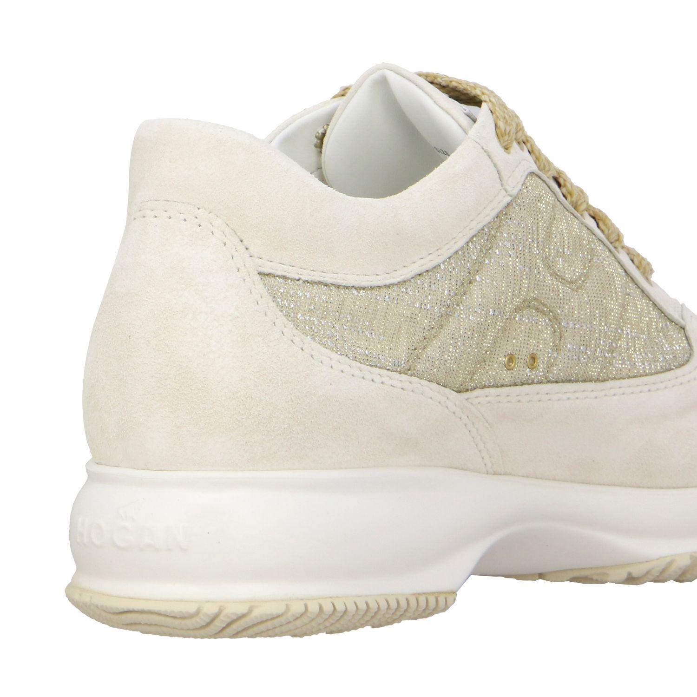 Sneakers Interactive Hogan in camoscio e rete lurex con H bombata ghiaccio 5