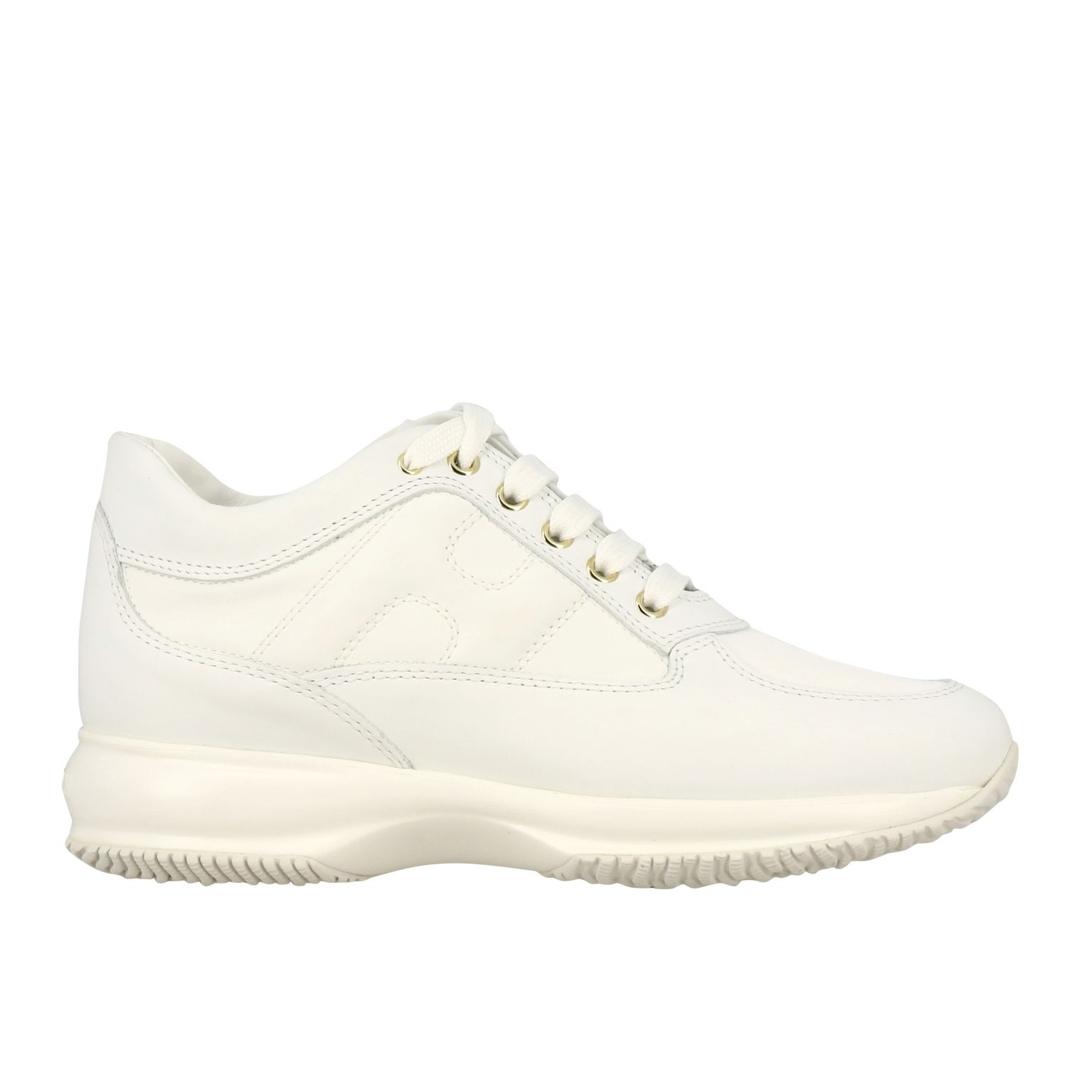 Interactive Hogan leather sneakers with rounded H white 1