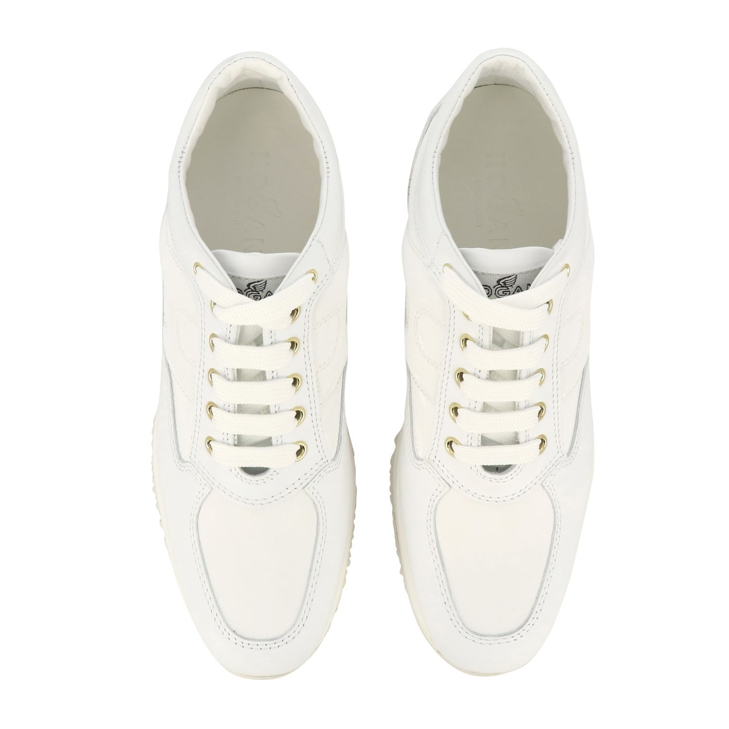 Interactive Hogan leather sneakers with rounded H white 3