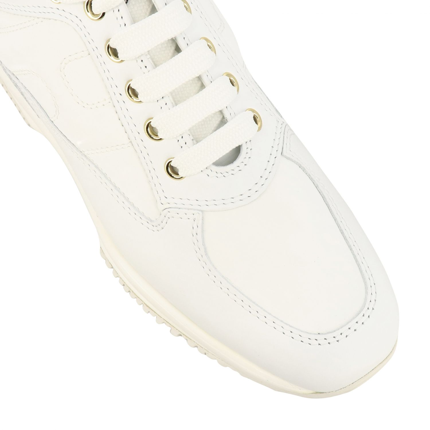 Interactive Hogan leather sneakers with rounded H white 4