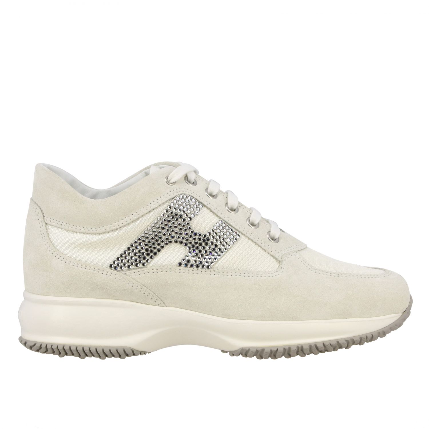 Interactive Hogan sneakers in suede and canvas with H of rhinestones white 1