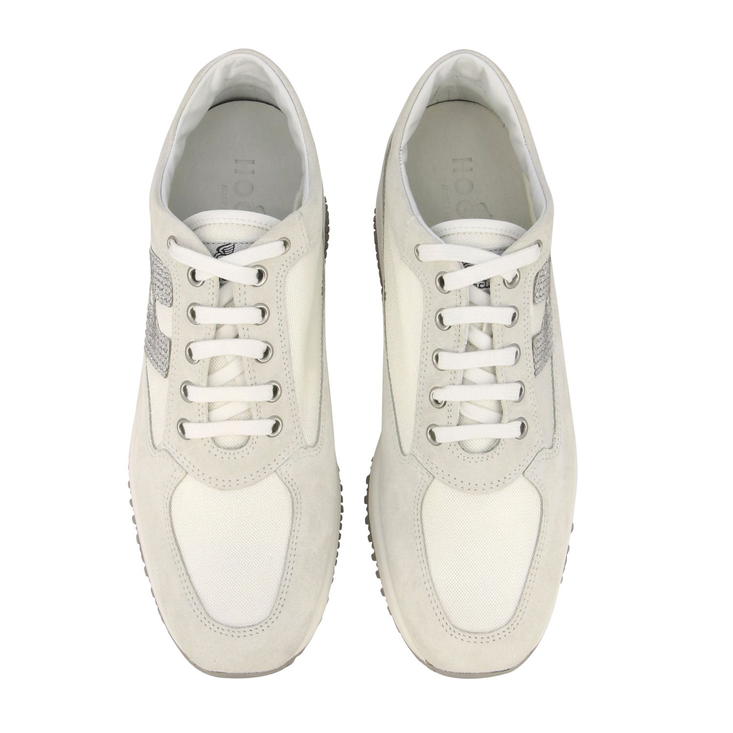 Interactive Hogan sneakers in suede and canvas with H of rhinestones white 3