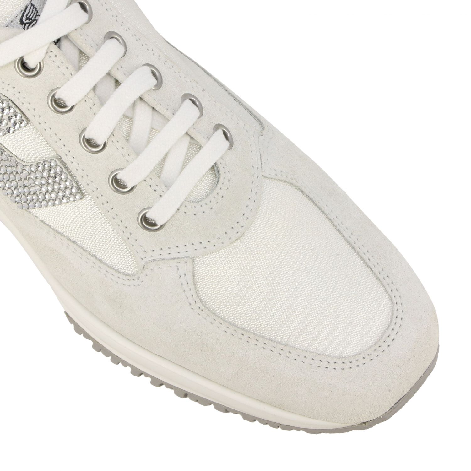 Interactive Hogan sneakers in suede and canvas with H of rhinestones white 4