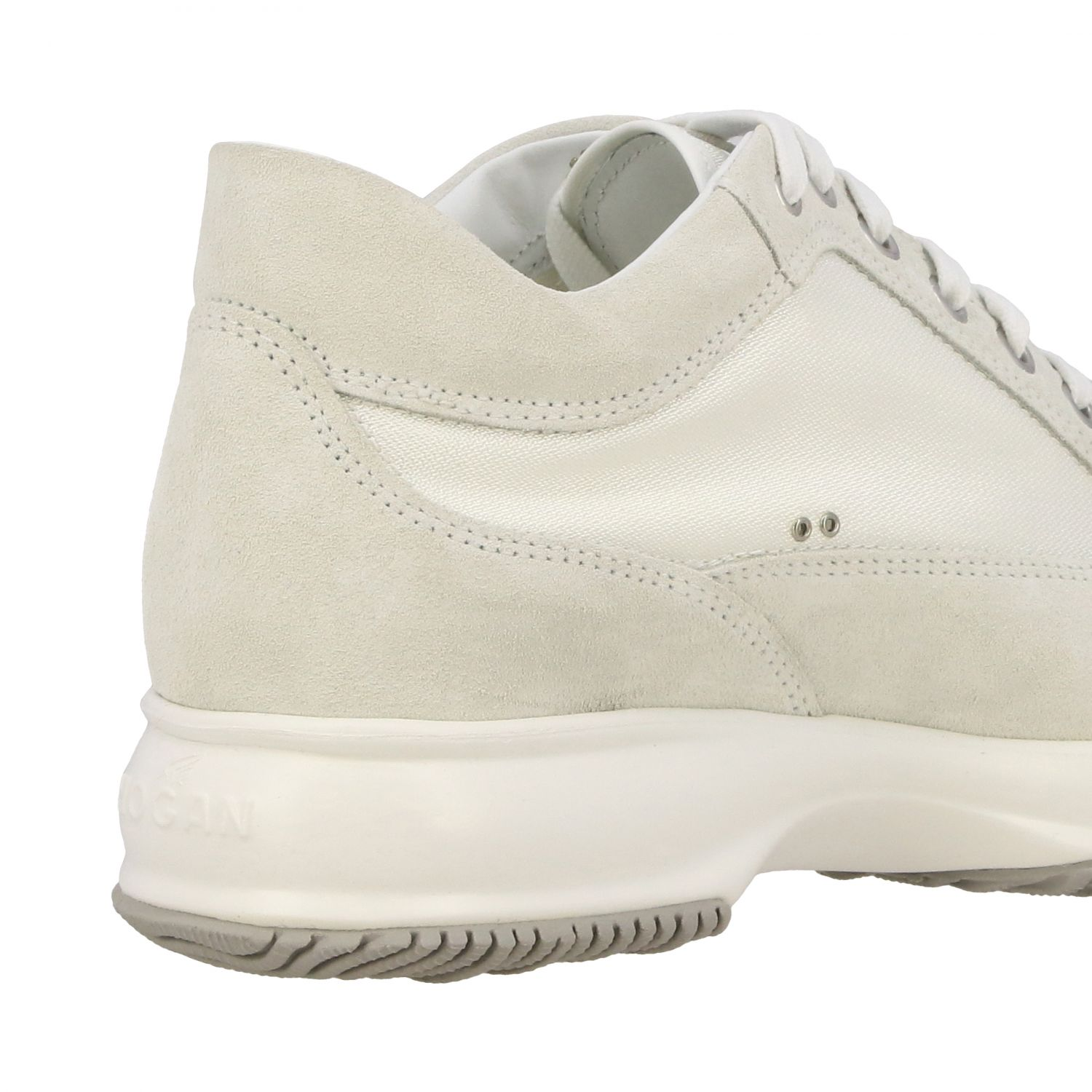 Interactive Hogan sneakers in suede and canvas with H of rhinestones white 5