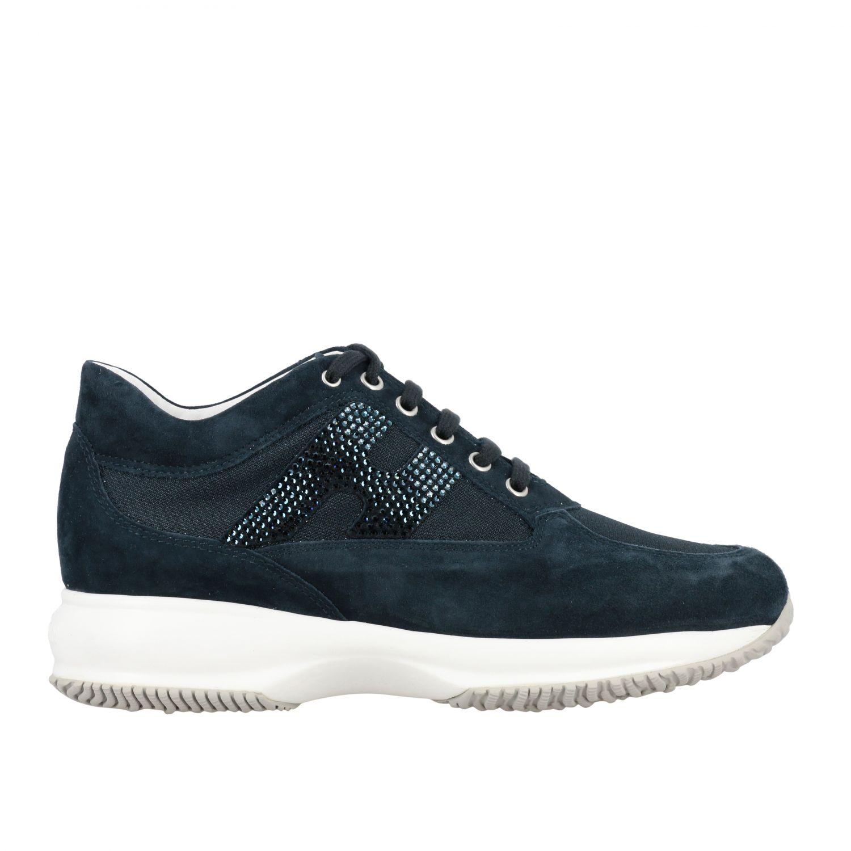 Sneakers Interactive Hogan in camoscio e tela con H di strass blue 1