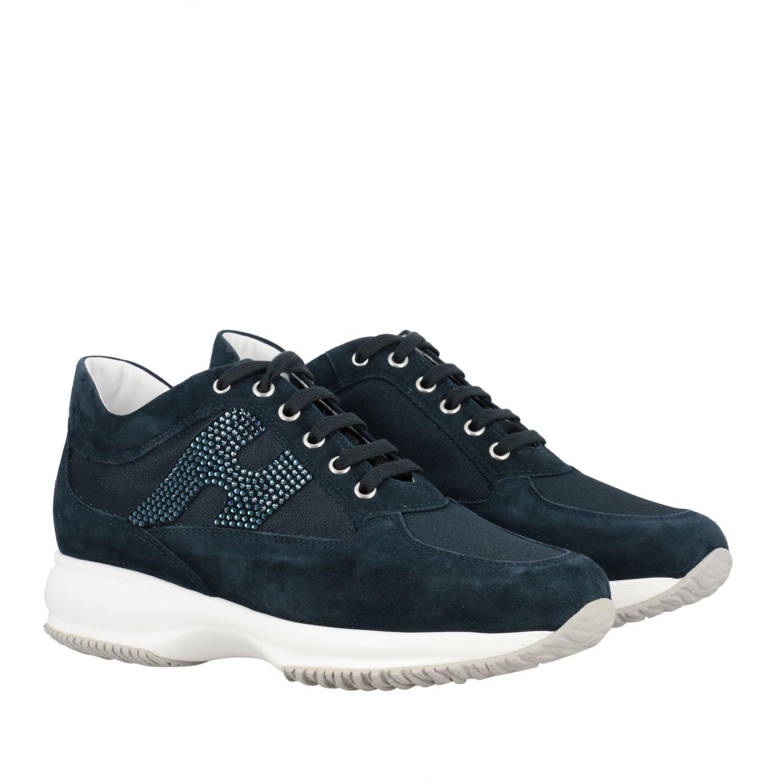 Sneakers Interactive Hogan in camoscio e tela con H di strass blue 2