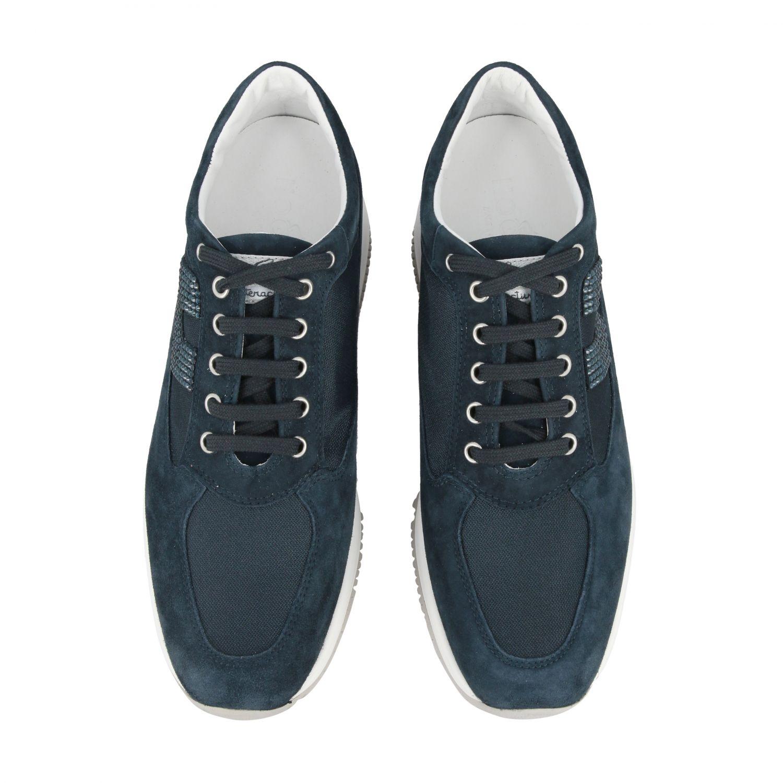 Sneakers Interactive Hogan in camoscio e tela con H di strass blue 3