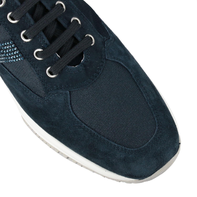 Sneakers Interactive Hogan in camoscio e tela con H di strass blue 4