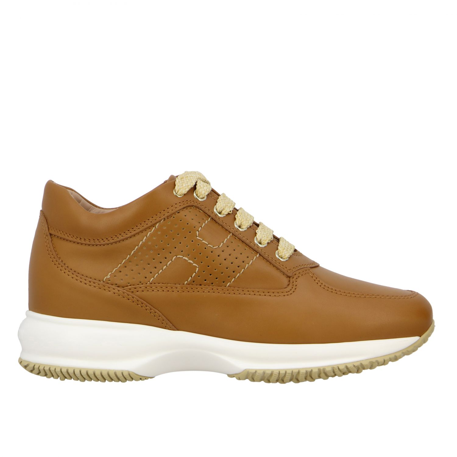 Interactive Hogan leather sneakers with perforated H leather 1