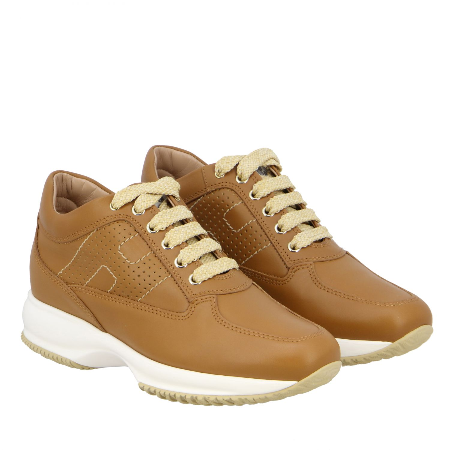 Interactive Hogan leather sneakers with perforated H leather 2