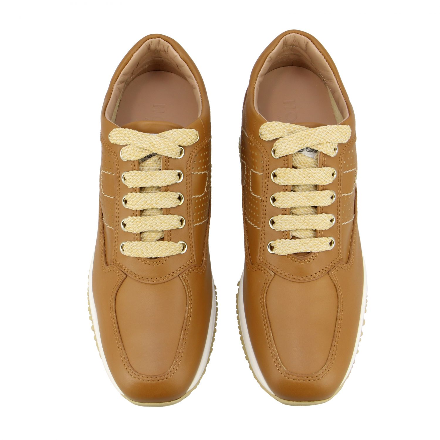 Interactive Hogan leather sneakers with perforated H leather 3