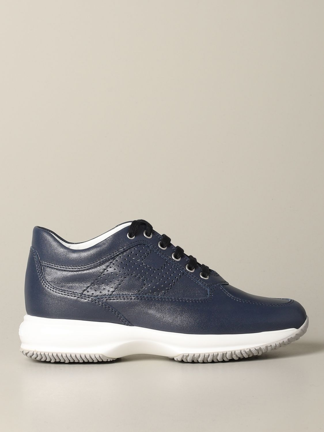 Interactive Hogan leather sneakers with perforated H blue 1