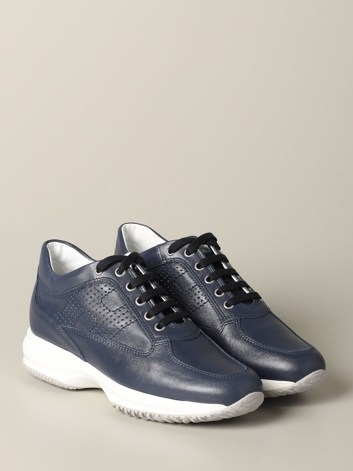 Interactive Hogan leather sneakers with perforated H blue 2
