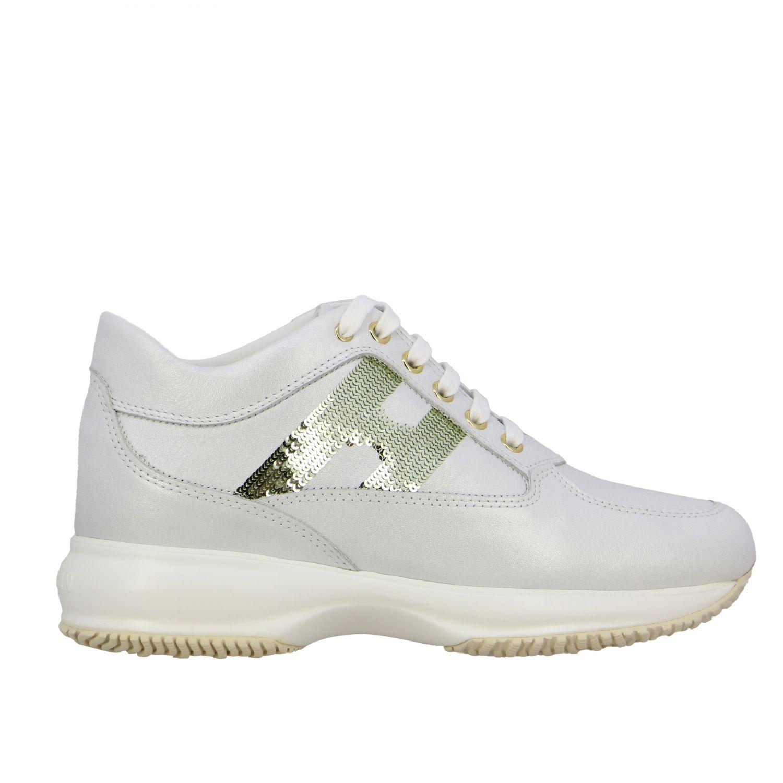 Hogan Interactive 亮片H装饰真皮运动鞋 白色 1