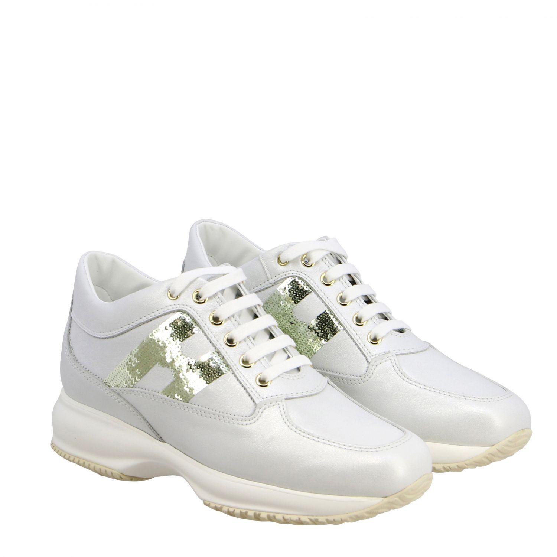 Hogan Interactive 亮片H装饰真皮运动鞋 白色 2