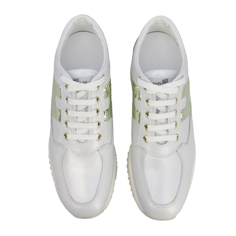 Hogan Interactive 亮片H装饰真皮运动鞋 白色 3