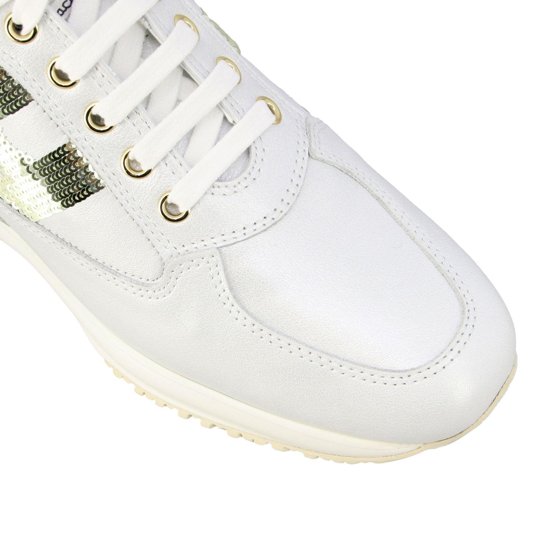 Hogan Interactive 亮片H装饰真皮运动鞋 白色 4