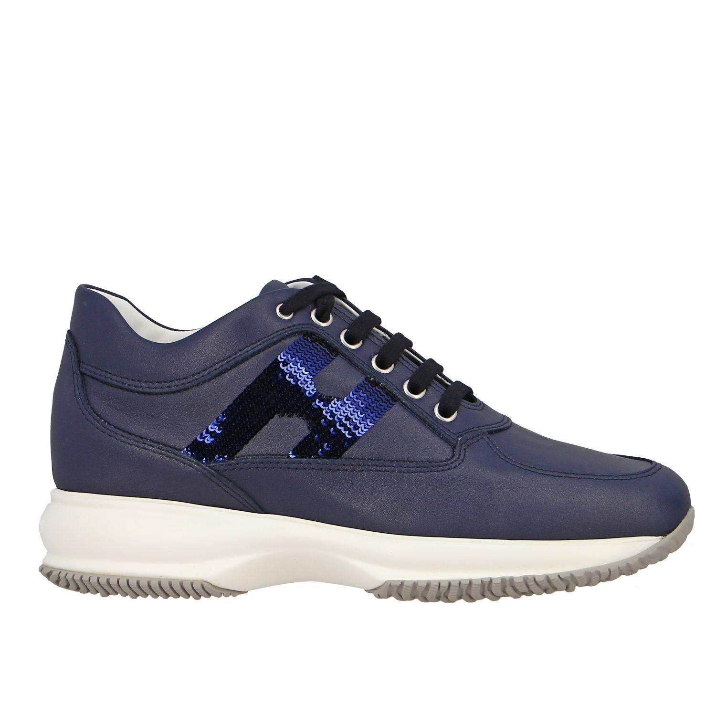 Sneakers Interactive Hogan in pelle con H di paillettes blue 1