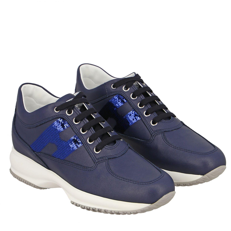 Sneakers Interactive Hogan in pelle con H di paillettes blue 2